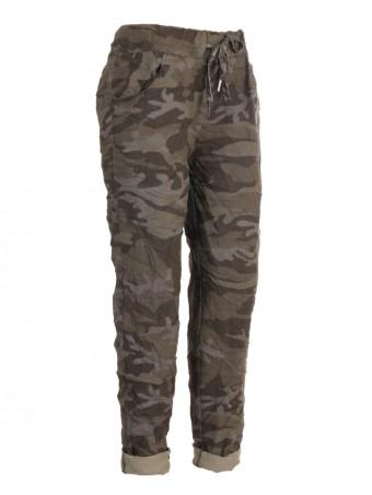Italian Camouflage Print Cotton Magic Pants