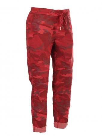 Italian Camouflage Print Magic Pants With Drawstring Waist Belt