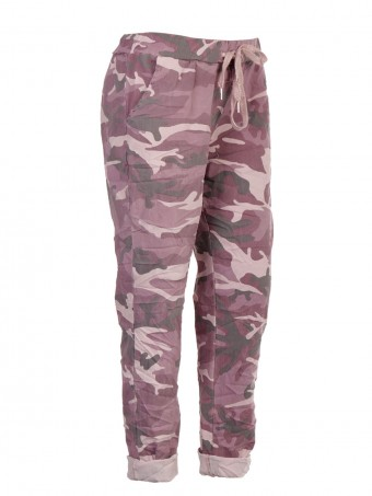 Plus Size Italian Camouflage Print Trouser With Drawstring Waist Belt