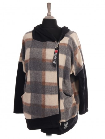 Italian Check Print Hooded Lana Wool Jacket With Front Pockets