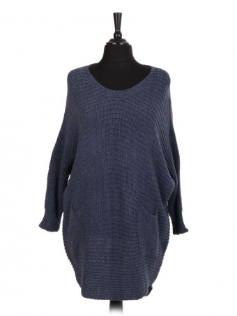 Italian Chunky Knit Longline Batwing Jumper With Front Pockets