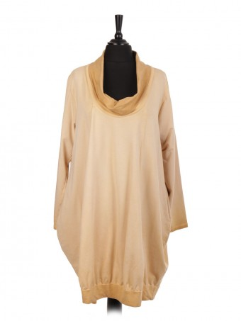 Italian Cold Dye Cowl Neck Lagenlook Dress With Side Pockets