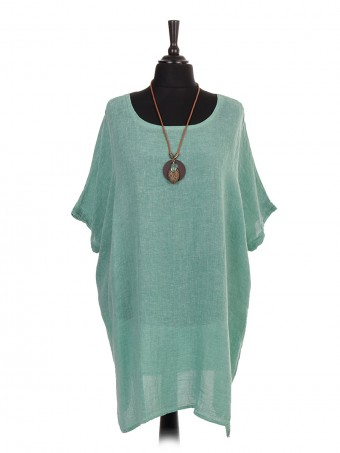 Italian Cold Dye Linen Batwing Dress with Necklace green