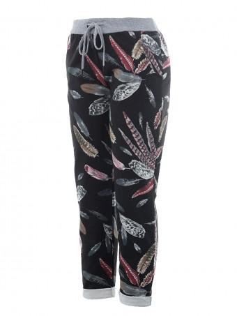 Italian Cotton Feather Print Summer Trouser