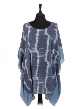 Italian Cotton Tie & Dye Silk Panel Kaftan Top