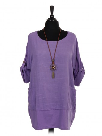 Italian Cotton Top With Front Pockets And Necklace