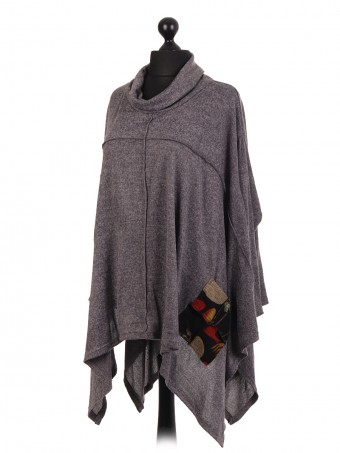 Italian Wool Mix Cowl Neck Batwing Top With Pockets