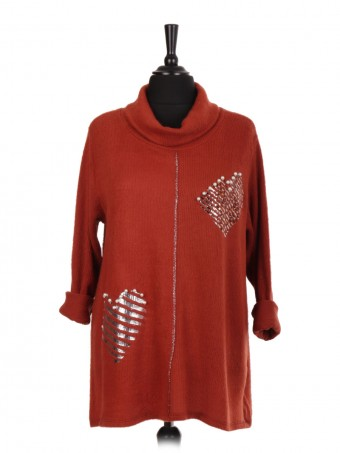 Italian Cowl Neck Glossy Heart with Diamante Detail Top