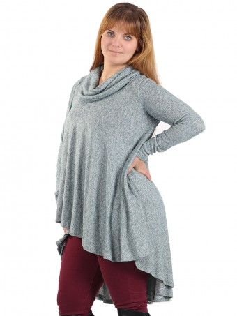 Italian Cowl Neck High Low Top Teal side