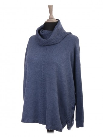 Italian Cowl Neck Knitted Batwing Jumper With Side Button Panel