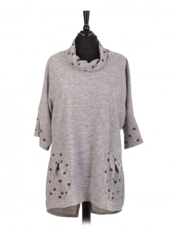 Italian Cowl Neck Polka Dot Dip Hem Top With Front Pockets