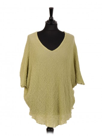 Italian Crushed Fabric Batwing Top