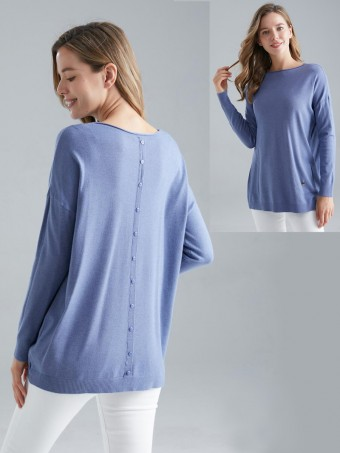 Italian Diagonal Pockets Back Button Panel Knitted Jumper