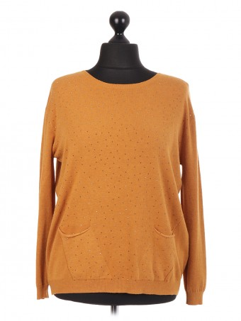 Italian Diamante Jumper With Front Pockets