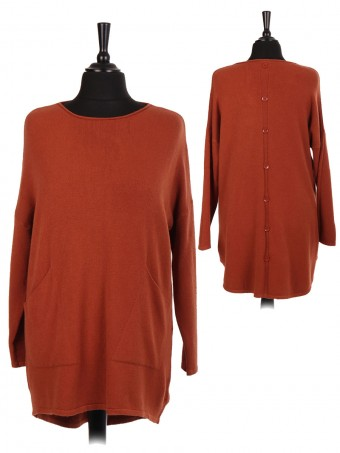 Italian Dip Hem Jumper With Back Button Panel And Front Pockets
