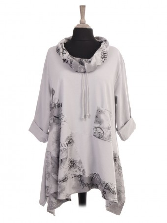 Italian Drawstring Cowl Neck Printed Tunic Top With Front Pocket
