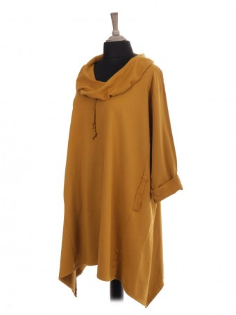 Italian Drawstring Cowl Neck Tunic Dress With Pockets