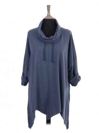Italian Drawstring Cowl Neck Tunic Top