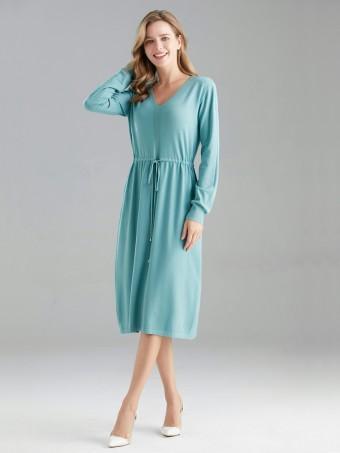 Italian Drawstring Waist Knitted Midi Dress