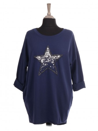 Italian Embroidered and Sequin Star Dip Hem Top With Side Pockets