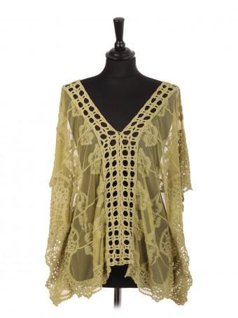 Italian Embroidered Net Kimono Cover Up Top
