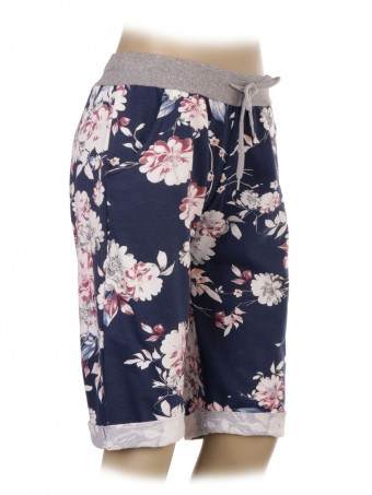 Italian Floral Print Cotton Shorts With Side Pockets