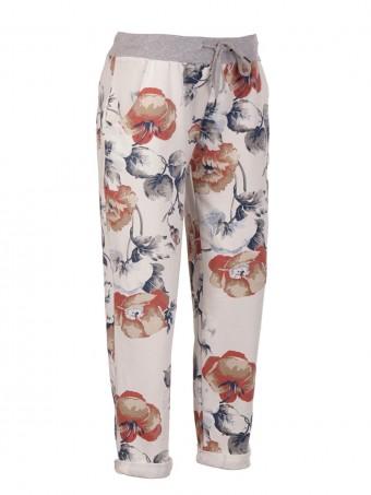 Italian Plus Size Floral Cotton Trouser