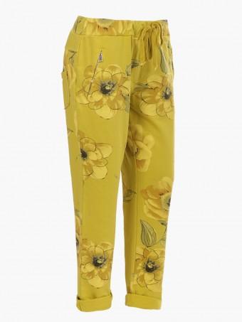 Italian Floral Print Cotton Trouser