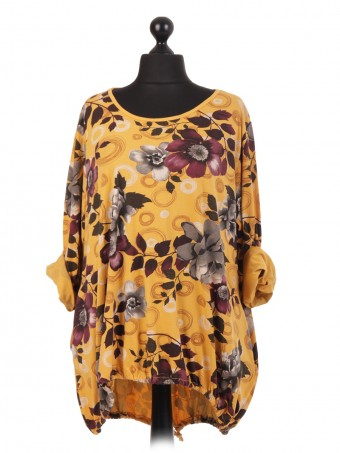 Italian Floral Print Gathered Hem Top