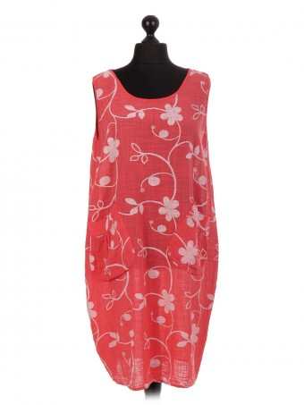 Italian Floral Print Lagenlook Dress With Diagonal Pockets