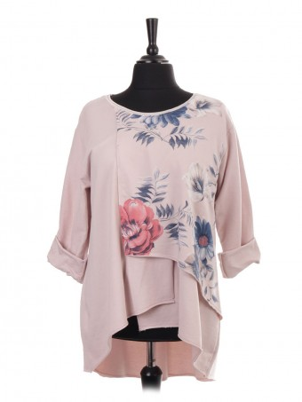 Italian Floral Print Layered Panel Dip Hem Top