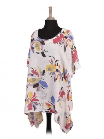 Italian Floral Print Linen Tunic Top