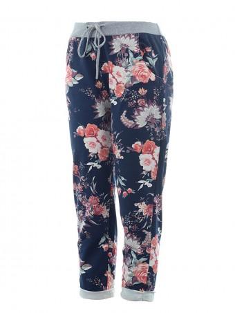 Italian Floral Print Summer Cotton Trouser