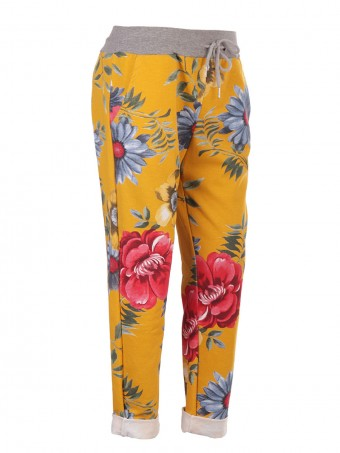 Italian Floral Print Trouser With Drawstring Waist Belt