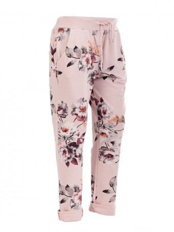 Italian floral print trouser- color nude