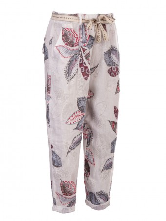 Italian Flower Print Linen Trouser