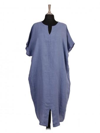 Italian Front Split Hem Linen Batwing Dress