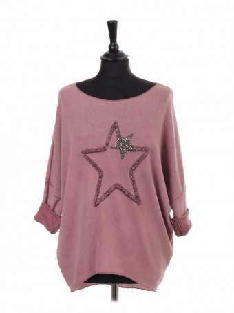 Italian Glittery Embroidered Star Dip Hem Batwing Top