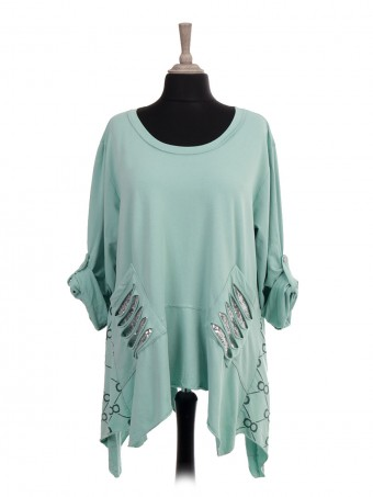 Italian Glittery Trim Tunic Top With Sequin Pockets
