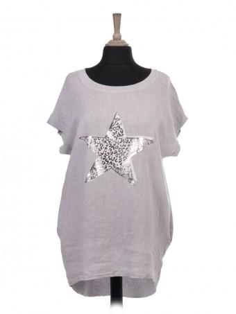 Italian Glossy Leopard Print Star Dip Hem Linen Top