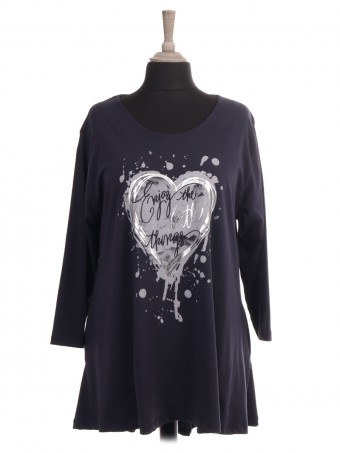 Italian Heart Print High Low Top with Side Pockets