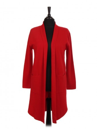 Italian Longline Knitted Jacket With Front Pockets