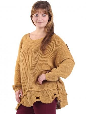 Italian Knitted Woollen Tunic Top Mustard Side