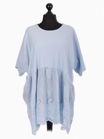 Italian Lace Panel Short Sleeve Cotton Tunic Top