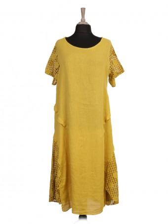 Italian Lace Sleeve Linen Lagenlook Dress