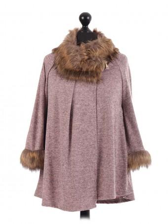 Italian Batwing Sleeve Fur Poncho