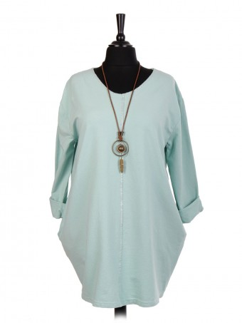 Italian Lagenlook Cotton Top With Necklace And Side Pockets