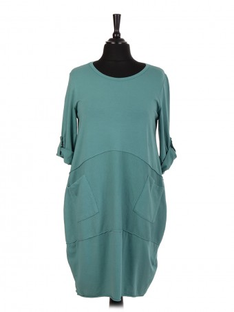 Italian Lagenlook Dress With Front Ribbed Panel And Pocket