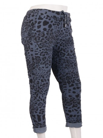 Italian Leopard Print Cotton Magic Pants Trouser