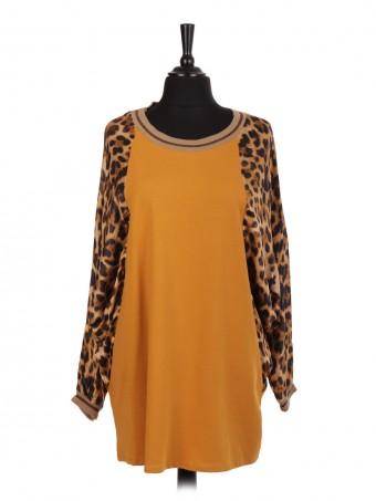 Italian Leopard Print Silk Sleeve Batwing Top